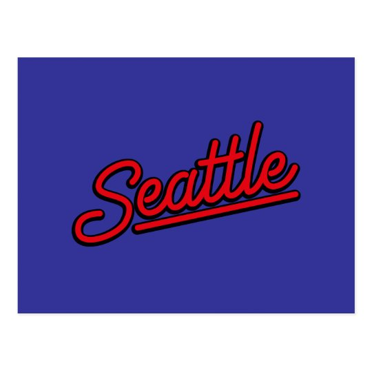 Seattle neon in red postcard