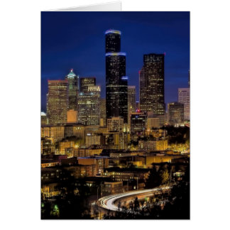 Seattle Night Skyline Card
