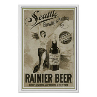 Seattle Ranier Beer Ad Poster 13 x 19