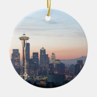 Seattle Round Ceramic Ornament