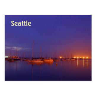 Seattle sailboats in marina at dusk postcard