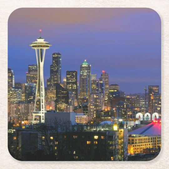 Seattle seen from Kerry Park in Queen Anne Square Paper Coaster