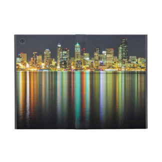 Seattle skyline at night with reflection iPad mini covers