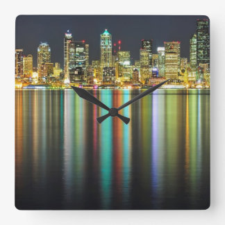 Seattle skyline at night with reflection wallclock
