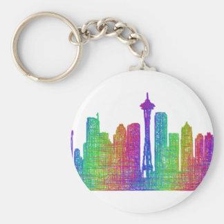 Seattle skyline basic round button keychain