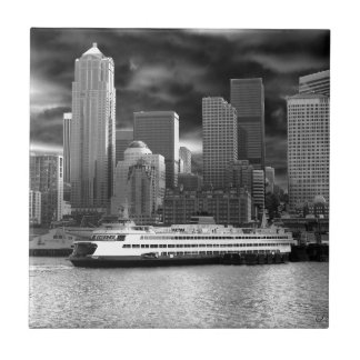 seattle skyline black and white tile