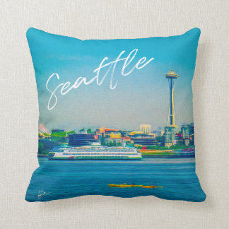Seattle Skyline Hand Lettered Script Watercolor Throw Pillow