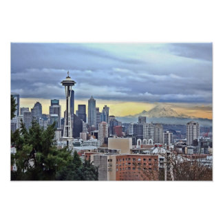 Seattle Skyline in Fog and Rain Poster