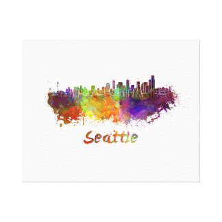 Seattle skyline in watercolor canvas print