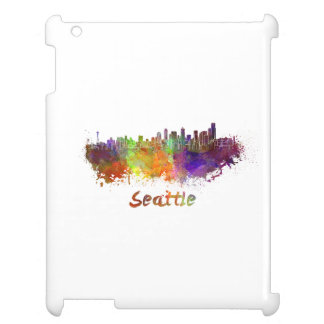 Seattle skyline in watercolor cover for the iPad 2 3 4