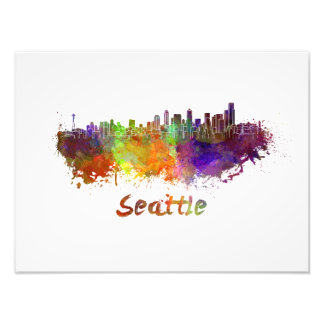Seattle skyline in watercolor photo print