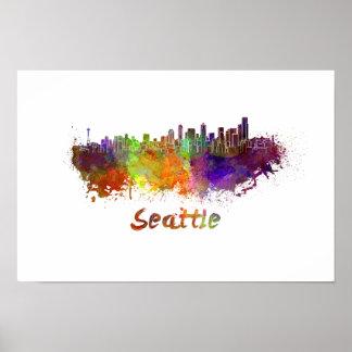 Seattle skyline in watercolor poster