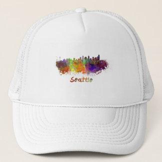 Seattle skyline in watercolor trucker hat