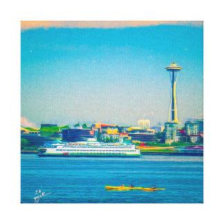 Seattle Skyline Modern Watercolor Unique Canvas Print
