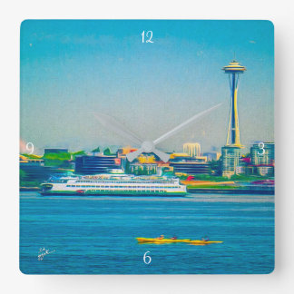 Seattle Skyline Modern Watercolor Unique Square Wall Clock