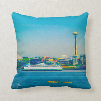 Seattle Skyline Modern Watercolor Unique Throw Pillow