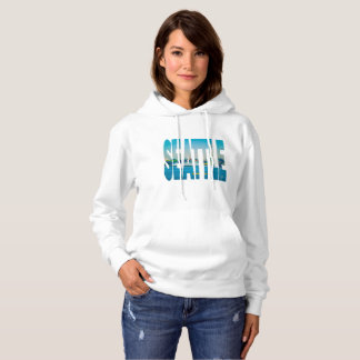 Seattle Skyline Photo Typography Modern Watercolor Hoodie