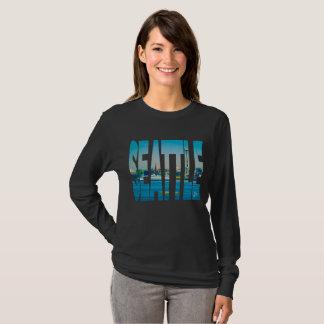 Seattle Skyline Photo Typography Modern Watercolor T-Shirt