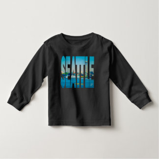 Seattle Skyline Photo Typography Unique Toddler T-shirt