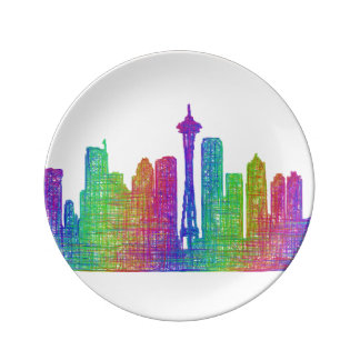 Seattle skyline plate
