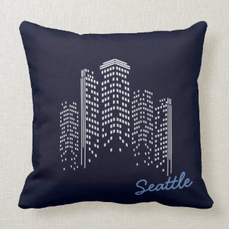 Seattle Skyline Polyester Pillow