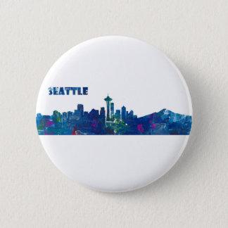 Seattle Skyline Silhouette 2 Inch Round Button