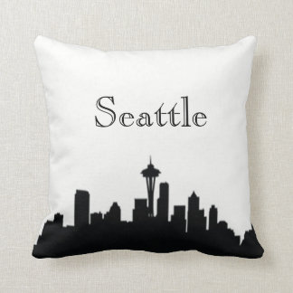 Seattle Skyline Silhouette Front/ Xray Back Throw Pillow