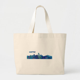 Seattle Skyline Silhouette Large Tote Bag