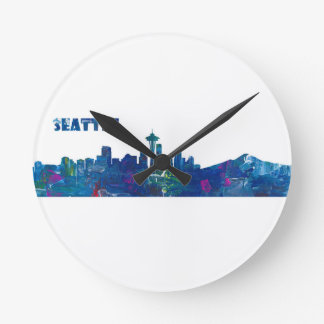 Seattle Skyline Silhouette Round Clock