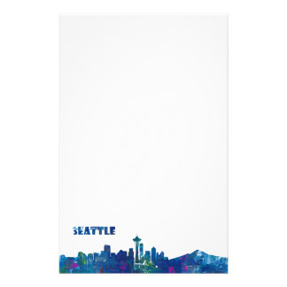 Seattle Skyline Silhouette Stationery