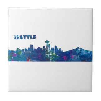 Seattle Skyline Silhouette Tile