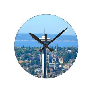 Seattle Skyline Space Needle Round Clock