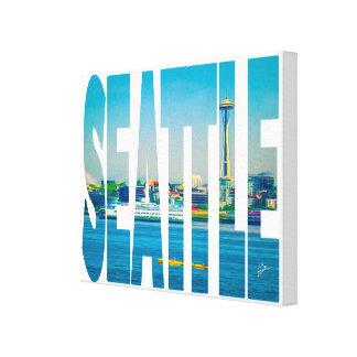 Seattle Skyline Typography Modern Photo Watercolor Canvas Print