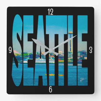 Seattle Skyline Typography Modern Photo Watercolor Square Wall Clock