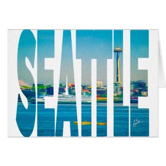 Seattle Skyline Typography Photo Modern Blank Card