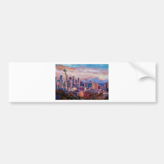 Seattle Skyline With Space Needle And Mt Rainier Bumper Sticker