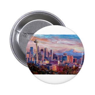 Seattle Skyline With Space Needle And Mt Rainier Pinback Buttons