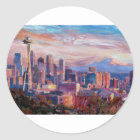 Seattle Skyline With Space Needle And Mt Rainier Classic Round Sticker