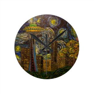 Seattle Starry Night (2015) Wallclock