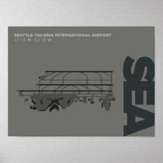 Seattle-Tacoma Airport (SEA) Diagram Poster