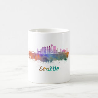 Seattle V2 skyline in watercolor Coffee Mug