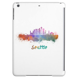 Seattle V2 skyline in watercolor iPad Air Covers