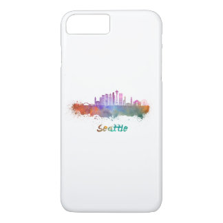 Seattle V2 skyline in watercolor iPhone 7 Plus Case