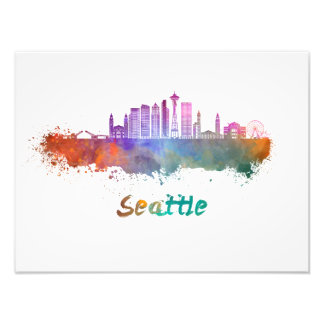 Seattle V2 skyline in watercolor Photo Print