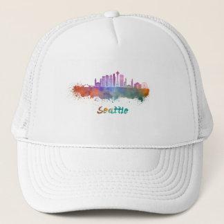 Seattle V2 skyline in watercolor Trucker Hat