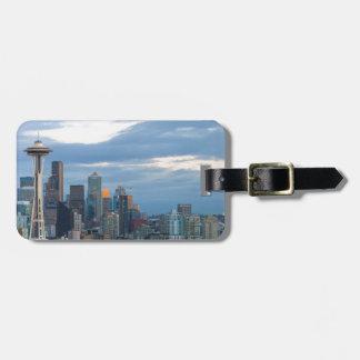 Seattle WA City Skyline evening Panorama Luggage Tag
