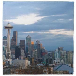Seattle WA City Skyline evening Panorama Napkin