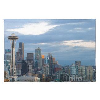 Seattle WA City Skyline evening Panorama Placemat