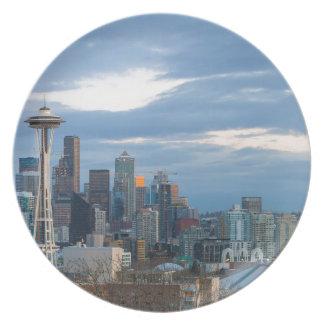 Seattle WA City Skyline evening Panorama Plate