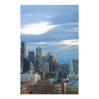 Seattle WA City Skyline evening Panorama Stationery